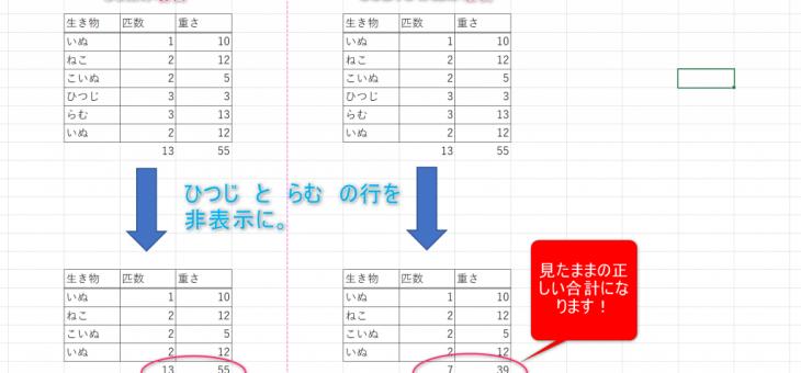 【エクセル】合計はSUMじゃなくて、SUBTOTALを使おう!